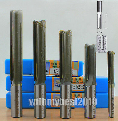 Metric Double Flute Straight Router Bits 1/4 & 1/2 Shank 2.5mm-50mm Dia Bits
