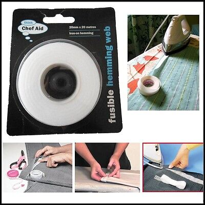 20M Instant Fusible Hemming Web Iron-on No Stitching Home Tailoring Easy Fabric