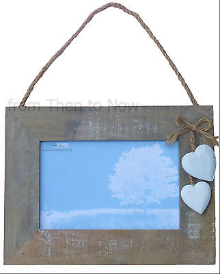 """Chic Shabby Heart Wooden Landscape Hanging Photo Frame White Hearts Cream 6 x 4"""""""