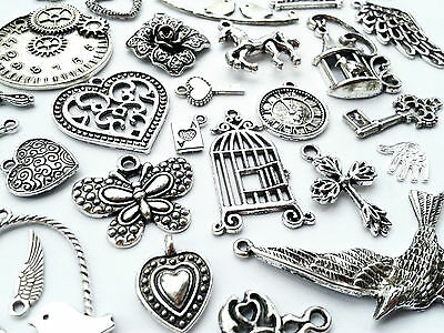 Steampunk Vintage Antique Silver Charms/Pendant Key Clock Teapot Bird Heart Wing