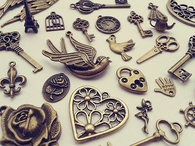 Steampunk Vintage Antique Bronze Charms/Pendant Key Butterfly Heart Moon Fairy