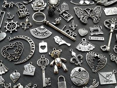 Steampunk Vintage Antique Silver Charms/Pendant Key Butterfly Heart Moon Fairy