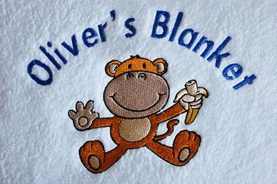 Personalised Blanket, Baby Gift with Monkey Design!
