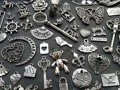 Steampunk Vintage Antique Silver Charms/Pendant Cross Bird Wing Flower Key Mix