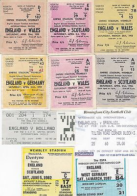 England Schoolboy Home Match Ticket Stubs ~ 1953 To 1990 ~ You Choose The Match