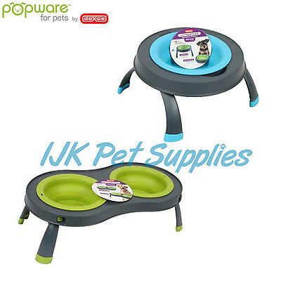 Dexas Popware for pets cat dog folding elevated raised bowls feeders diners dish