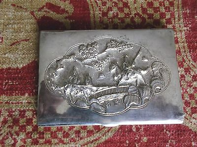 Vintage Asian Repousse Silverplate Business Card Case, Ancient Warrior Scene