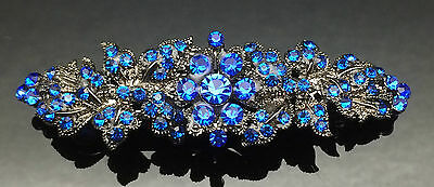 Royal Blue Sapphire Formal Wedding Crystal Hair Clip Barrette Comb 7.5cm Gift