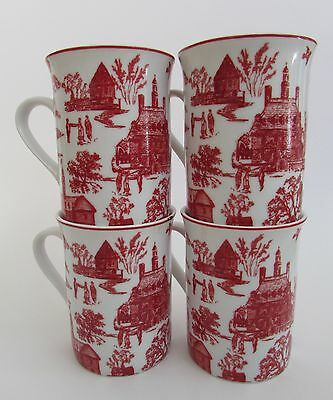 """French Country Red Toile Mugs by Williamsburg Set of 4 """"Townscape Toile"""""""