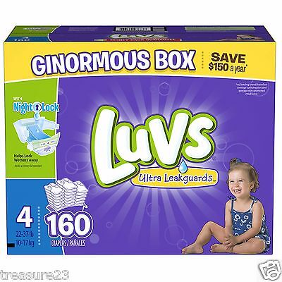 Luvs Ultra Leakguards Diapers, Size 4 160 Count 22   37 lb