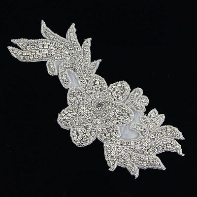 1 Pc Sew  Iron On Silver Crystal Beaded Rhinestone Appliques Trims Dress Patch