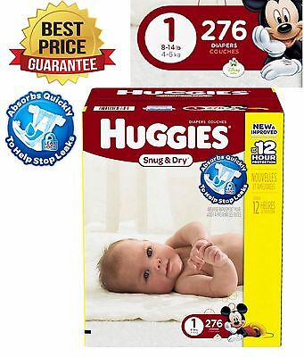 Huggies Baby Diapers 276 COUNT Pampers Newborn SIZE 1 ECONOMY Pack NEW Snug Dry