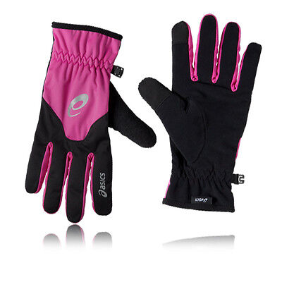 ASICS Winter Unisex Pink Black Running Training Reflective Sports Gloves