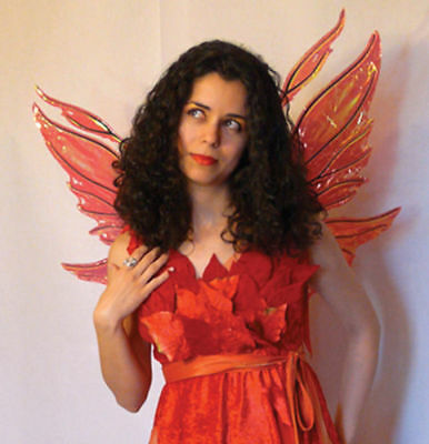 Morris Costumes Women's New Metal Frame Azarelle Fairy Wings Red One Size. TA454