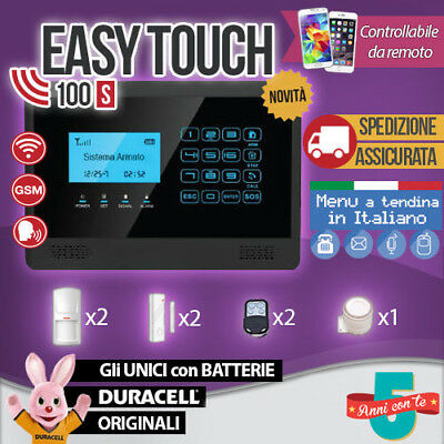 Kit Antifurto Casa Allarme Touch Screen Combinatore Gsm Wireless Easytouch100S