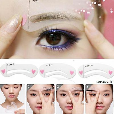 KIT 3 POCHOIRS SOURCILS Outils MAQUILLAGE Beaute Eyebrows Stencils Makeup