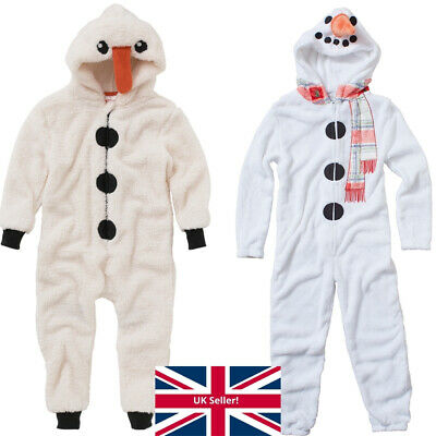 World Book Day Snowman 1Onesie Onezi Boys Girls Nativity Novelty Fleece Jumpsuit