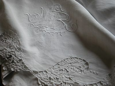 """Antique French Linen Sheet - Colbert Embroidery - Monogram """"mr"""" - 1900'"""