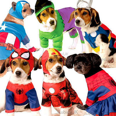 Superhero Dog Fancy Dress Super Heroes Avengers Marvel Comic Pet Puppy Costumes