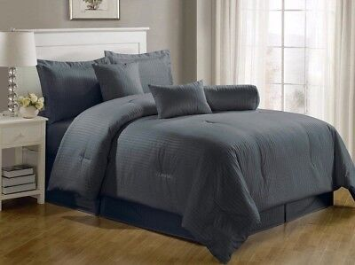 Chezmoi Collection 7-Piece Hotel Solid Dobby Stripe Comforter Set King, Gray