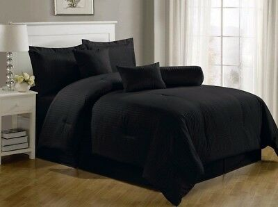 Chezmoi Collection 7-Piece Hotel Solid Dobby Stripe Comforter Set Queen, Black