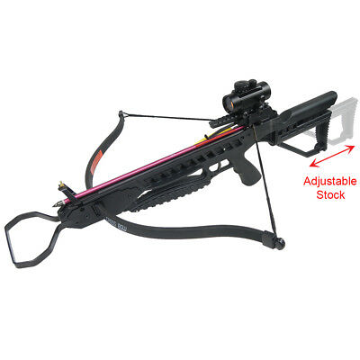 175 lb Black Hunting Crossbow Archery Bow +7 Arrows +Stringer +Wax 150 80