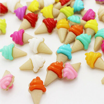 100X Colorful Ice Cream Pattern Plastic Backhole Shank Buttons Baby Kids Sewing
