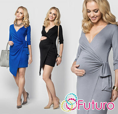 Ladies Maternity Asymmetric Wrap Dress V Neck 3/4 Sleeve Plus Sizes 8-18 FM14