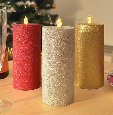 3 LED Glitter Candles Flameless Wax Flickering Electric Red Gold Silver