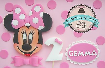 Minnie Mouse cake topper edible sugar decoration birthday set girl pink handmade