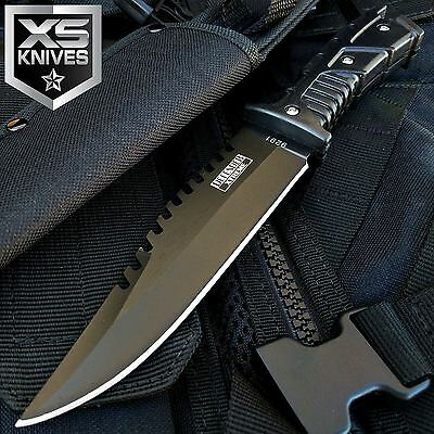 """10"""" FULL TANG Black WOODLAND Fixed Blade Hunting SURVIVAL Knife w/ Sheath BOWIE"""