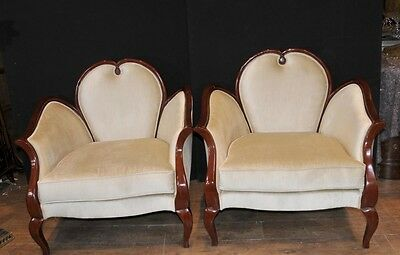 French Empire Heart Arm Chairs Fauteils Regency Furniture