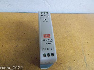 Mean Well MDR-10-24 Power Supply Input 100-240VAC 0.33A Output 24V Gently Used