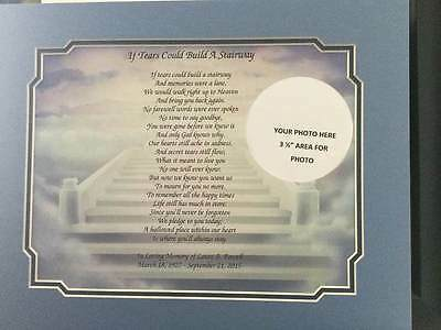 Personalized Memorial Poem with Mat & Photo Custom for Loss of Loved One