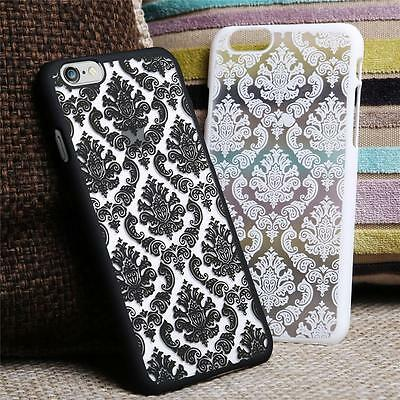 New Hard Back Damask Case Cover for Apple iPhone 5 5C 6 6S 7 plus Samsung Galaxy