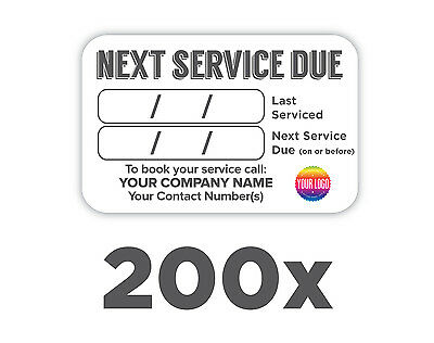 200x Plumbers Boiler/Appliance Service Labels 100% WATERPROOF *FREE DELIVERY*