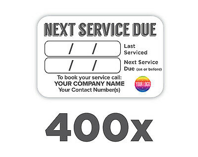 400x Plumbers Boiler/Appliance Service Labels 100% WATERPROOF *FREE DELIVERY*