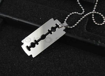 "Razor Blade 316L Surgical Stainless Steel Pendant w/ 30"" Ball Chain Necklace"