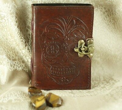 Skull Handmade Leather Journal Antique Styl Blank Book Of Shadows Embossed Diary