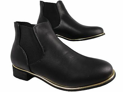 New Girls Chelsea Black Leather Look Low Block  Heel Flat Ankle Boots 10