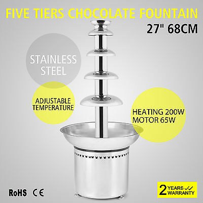 Stainless Steel 5 tiers Home Chocolate Fountains Chocolate Fondue Fountain