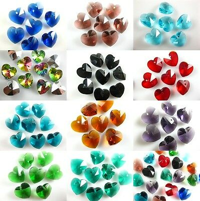 14mm Faceted Glass Crystal Heart-Shaped Beads Spacer Beads Charm Jewelry Making
