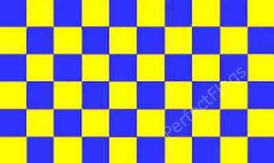 CHEQUERED BLUE/ROYAL YELLOW - CHECKERED RACING SPORTS FLAGS - Size 3x2, 5x3 feet