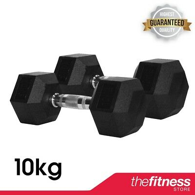 COREX 10kg Rubber Hex Dumbbells (Pair)