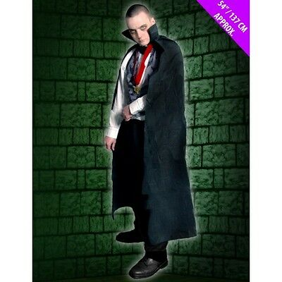 Halloween Vampire Dracula Long Black Cape Budget Adult Fancy Dress Costume