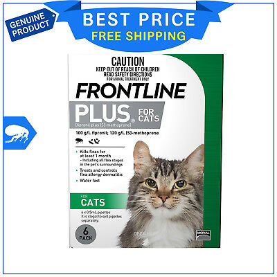 FRONTLINE PLUS For Cats Flea treatment 6 Pipettes GREEN Pack AU Seller