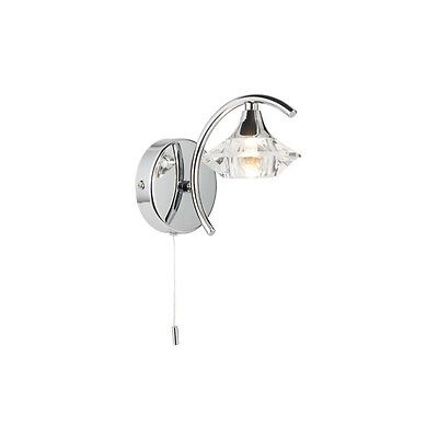 THLC Modern Chrome and Crystal Switched Wall Lamp Light Fitting with Glass Shade