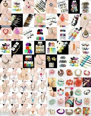 New WHOLESALE LOT 120 PC FASHION Necklaces Bracelet EARRINGS Hoop Rings Bangles