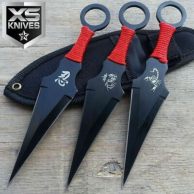 "3pc 6.5"" Scorpion and Dragon Black Ninja Naruto Kunai Style Throwing Knives Set"