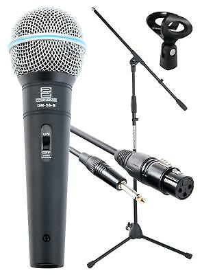 Dj Pa Vocal Singing Live Microphone Set Boom Stand Micro Xlr Cable Dynamic Mic